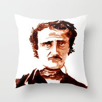poe Throw Pillows featuring Poe by Doug Slack