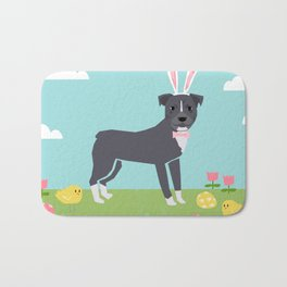 Pitbull easter eggs easter spring dog breed pibble rescue dog portrait Bath Mat