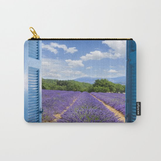 wooden shutters, lavender field Carry-All Pouch