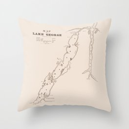 1853 Map of Lake George (sepia) Throw Pillow