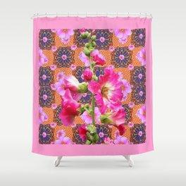 Fuchsia Purple Holly Hocks Pattern Grey Flora Art Shower Curtain