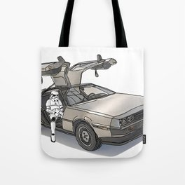 Stormtroooper in a DeLorean - star wars Tote Bag
