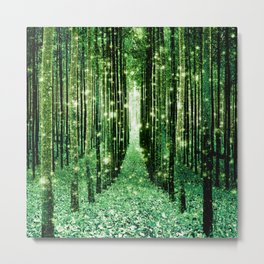 Magical Forest Green Elegance Metal Print