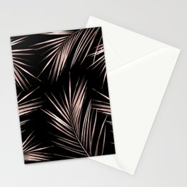 Rosegold Palm Tree Leaves on Midnight Black Stationery Cards