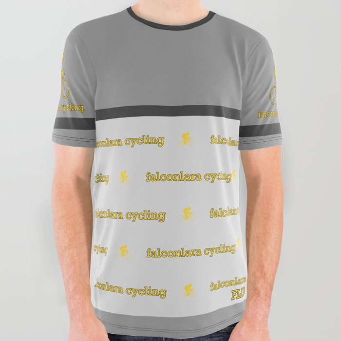 FLD Cycling Gray + Gray Stripe All Over Graphic Tee