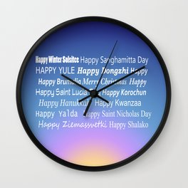 Happy Holidays Sunrise Wall Clock