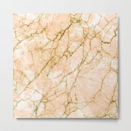 Pink marble & gold effect Metal Print