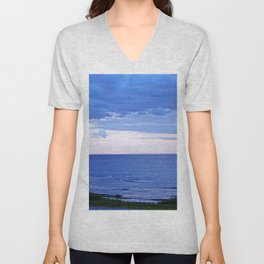 Blue on Blue at the River Mouth Unisex V-Neck