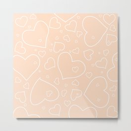 Peach - Apricot and White Hearts Metal Print
