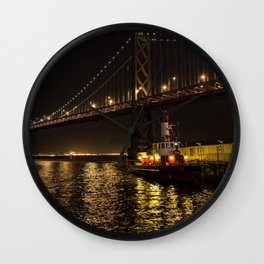 Bay Bridge Fire Boat at Night Wall Clock
