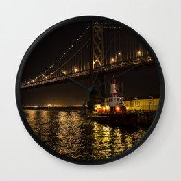 Bay Bridge Fire Boat at Night Wall Clock