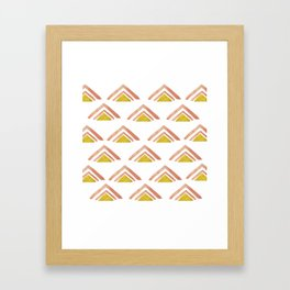 Pink and Yellow Boho Triangles Framed Art Print