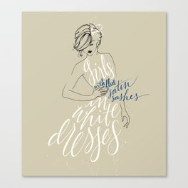girls in white dresses with blue satin sashes Canvas Print