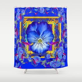 DECORATIVE BLUE PANSY & VINING  MORNING GLORIES Shower Curtain