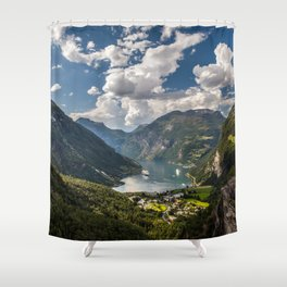 Geiranger Fjord Norway Mountains Shower Curtain