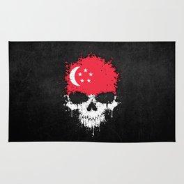 Flag of Singapore on a Chaotic Splatter Skull Rug