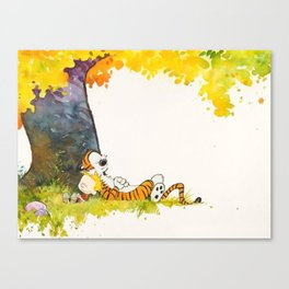 Calvin And Hobbes Cartoon Canvas Print