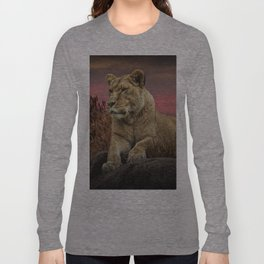 African Female Lion in the Grass at Sunset Long Sleeve T-shirt