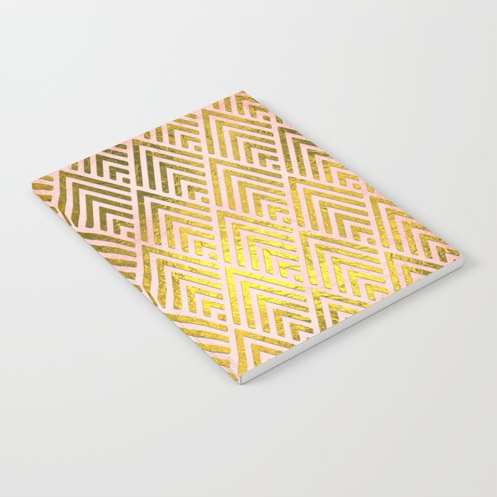 Gold foil triangles on pink - Elegant and luxury triangle pattern Notebook