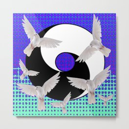 AQUA-LILAC FLYING DOVES Taoism/Daoism ART Metal Print