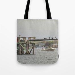 Cormorants on the Greasy Pole Tote Bag