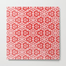 Red Pink and White Mini Mandala Abstract Flowing Floral Dotted Spirit Organic Metal Print