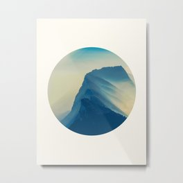 Mid Century Modern Round Circle Photo Minimalist Mountain Blue Watercolor Effect Metal Print