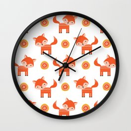 Orange Fox Wall Clock