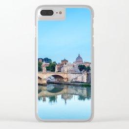 Emanuele II bridge and St. Peter's Basilica - Rome, Italy Clear iPhone Case