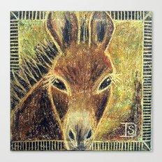 Desert Burro Oil Pastel Canvas Print