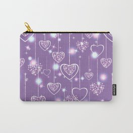 Bright openwork hearts on a lilac background. Carry-All Pouch