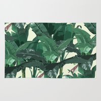 banana leaf Area & Throw Rugs featuring Banana Leaf Pattern 2 by Tamsin Lucie