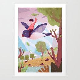 Fly Bird And Children Art Print