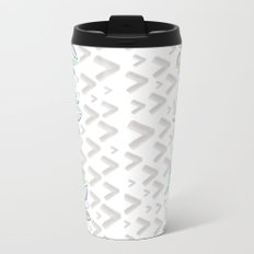 Gray arrows and blue flowers Metal Travel Mug