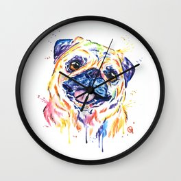 Fawn Pug Colorful Watercolor Pet Portrait Painting Wall Clock