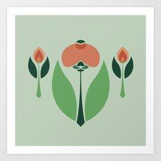 Nouveau Chrysanth Rose Art Print