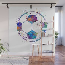 Soccer Ball Colorful Watercolor Sports Wall Mural