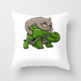 Sloth turtle sleeping Tired funny gift Throw Pillow