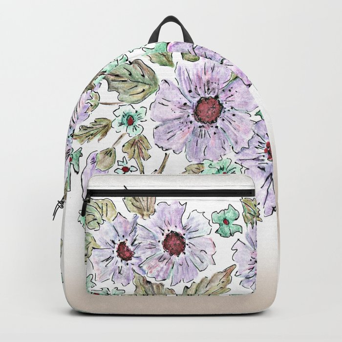 Colorful floral pattern . Beige background . Backpack