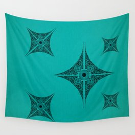 Pata Patterns in Black on Cyan Wall Tapestry