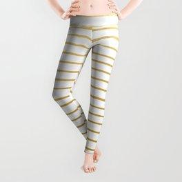 Gold Paris Stripe Pattern Leggings