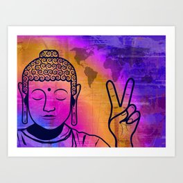 Buddha World Peace Art Print
