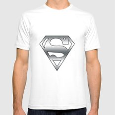 Superman Mens Fitted Tee MEDIUM White