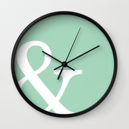 Vintage mint green Ampersand art print Wall Clock