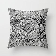 Rain in the Garden - black and white Throw Pillow