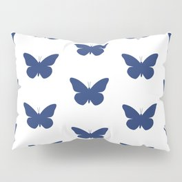 Navy Butterfly Pattern and Print Pillow Sham