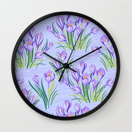 Spring Floral Pattern with Crocuses Wall Clock