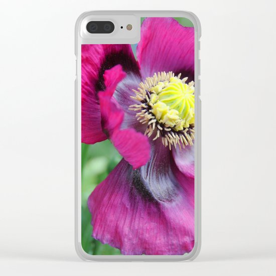 Poppy flower Clear iPhone Case
