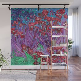 Vincent Van Gogh Irises Painting Cranberry Purple Palette Wall Mural