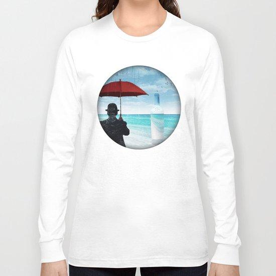 Chaplin at the beach in the rian Long Sleeve T-shirt